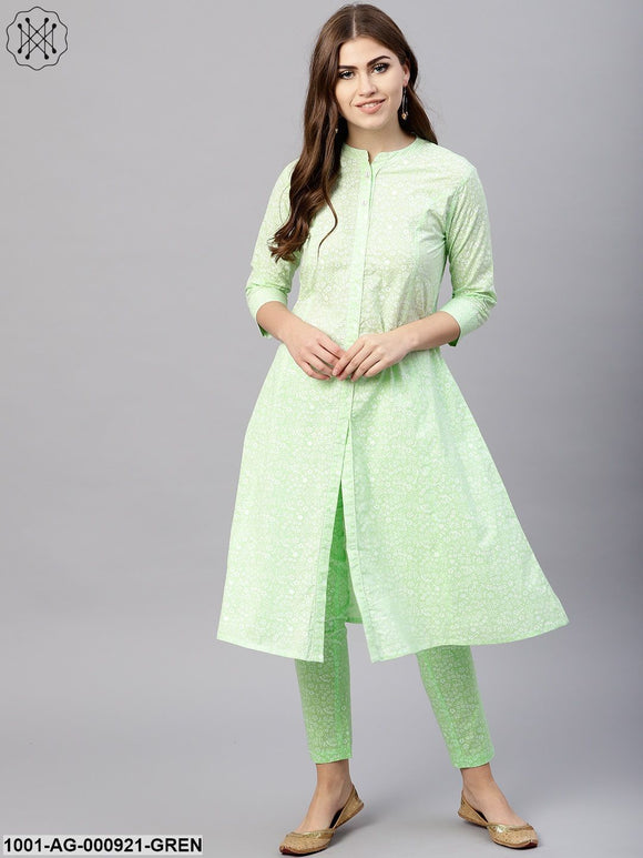 Sea Green Khari Printed A-Line Kurta