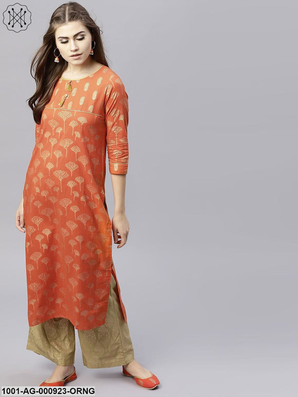 Orange Gold Printed Straight Kurta