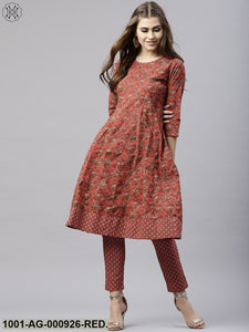 Brick Red & Grey Printed Anarkali With Tassel Details