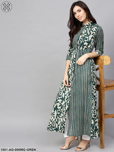 Green Printed Long Kurta