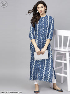 Blue & White Printed Button Down Kurta