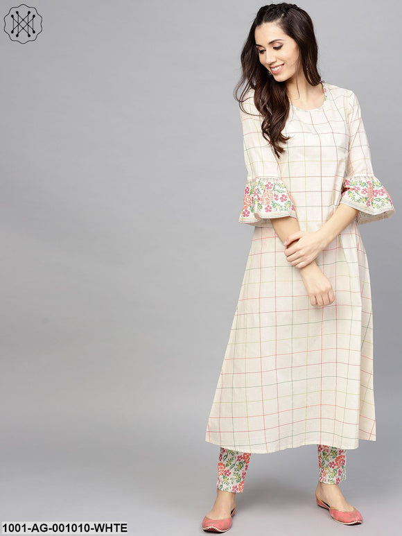 White Checked Printed A-Line Kurta With ruffle Sleeve