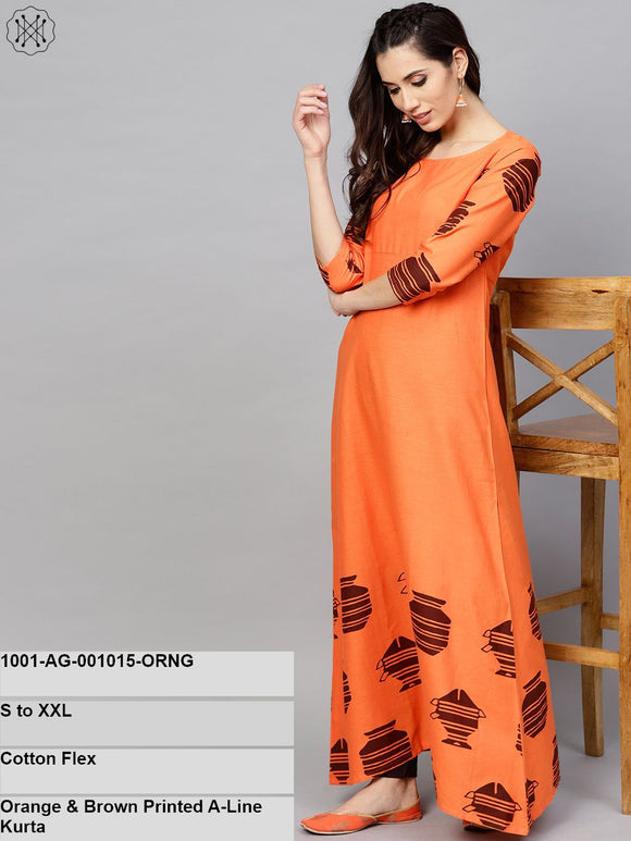 Orange & Brown Printed A-Line Kurta