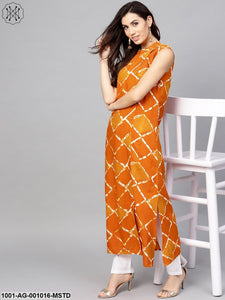 Mustard & White Checked Printed Long Kurta