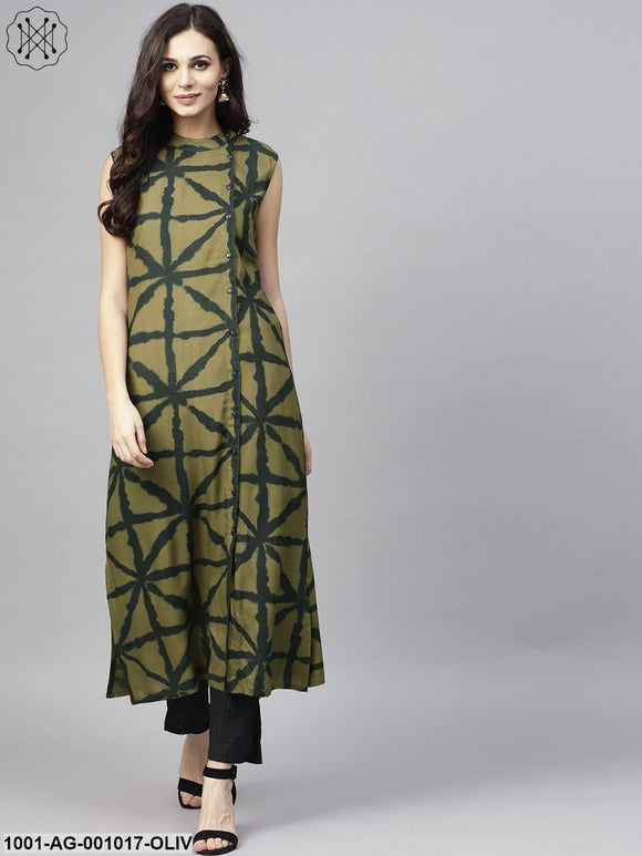 Olive Printed Sleeveless Kurta