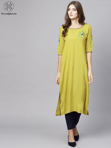 Yellow & Green Embroidered Straight Kurta