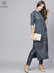 Blue Gold Printed Button Down Long Kurta