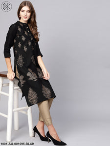 Black Gold Printed Straight Kurta