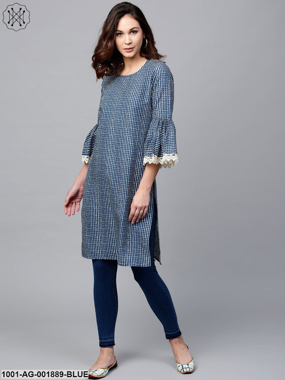 Blue Printed Straight Kurta With Lace Details At Sleeve