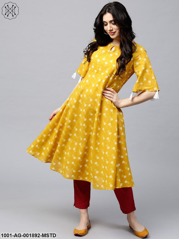 Mustard Printed Umbrella Anarkali With Tussel Details