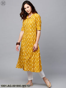 Mustard Yellow Printed Button Down A-Line Kurta