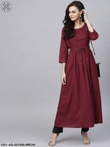 Maroon Solid Pleated A-Line Kurta
