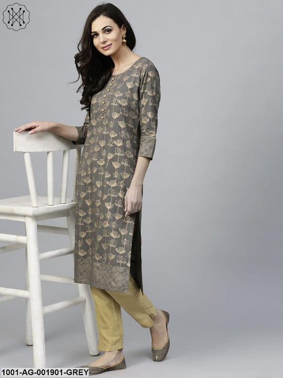 Grey Gold Printed Straight Kurta