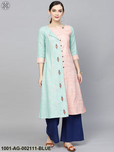 Pink & Blue Embroidered A-Line Kurta