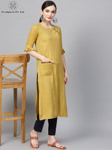 Green Solid Shimmery Straight Kurta