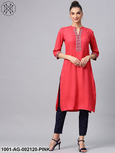 Pink Embroidered Yoke Design Shemrey Straight Kurta