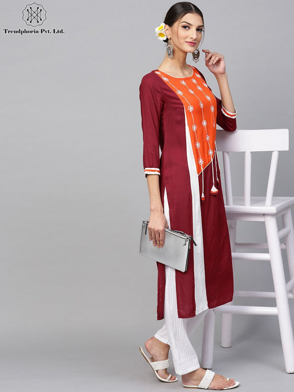 Maroon & Orange Embroidered Straight Kurta