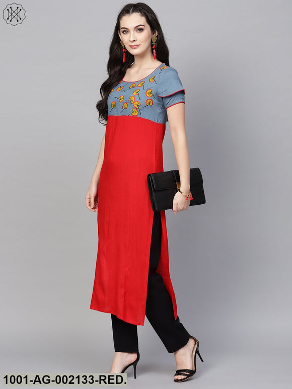 Red & Blue Embroidered Yoke Straight Kurta