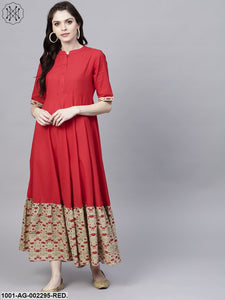 Red Solid Flared Anarkali With Printed Hemline