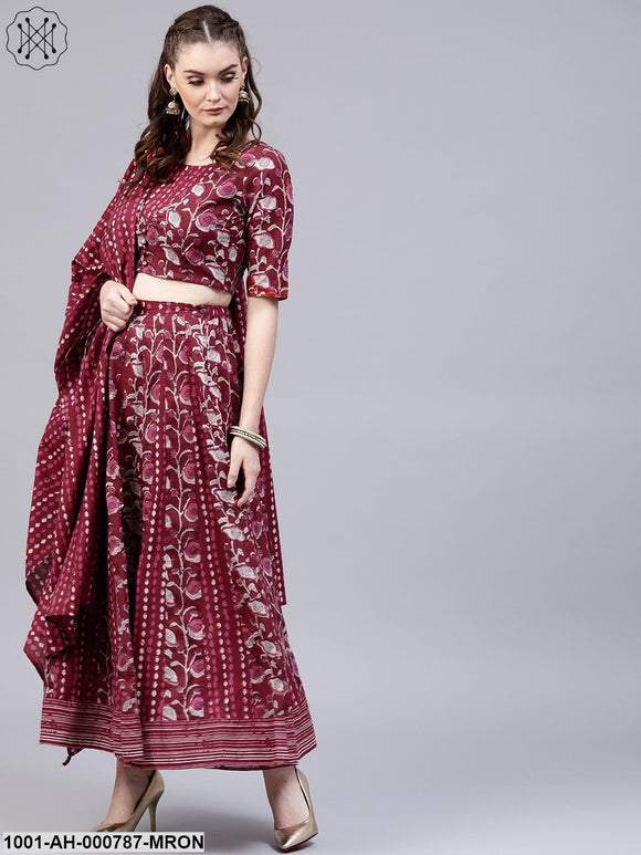 Maroon Floral Printed Lehenga & Blouse And Dupatta Set