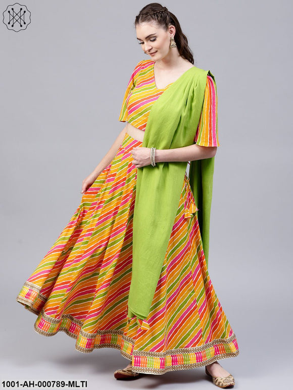 Multi-Coloured Leheriya Printed Lehenga With Choli & Dupatta