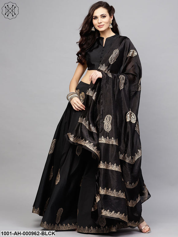 Black Gold Printed Lehenga With Choli & Dupatta