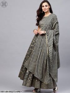 Grey Gold Printed Lehenga & Choli and Dupatta Set