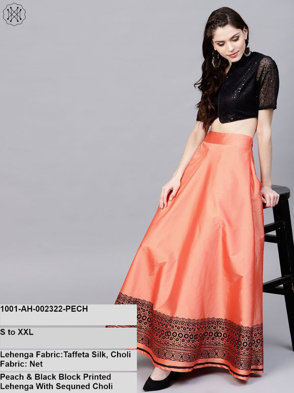 Peach & Black Block Printed Lehenga With Sequined Choli