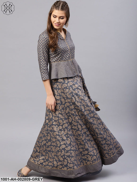 Grey Gold Printed Lehengas With Jacket