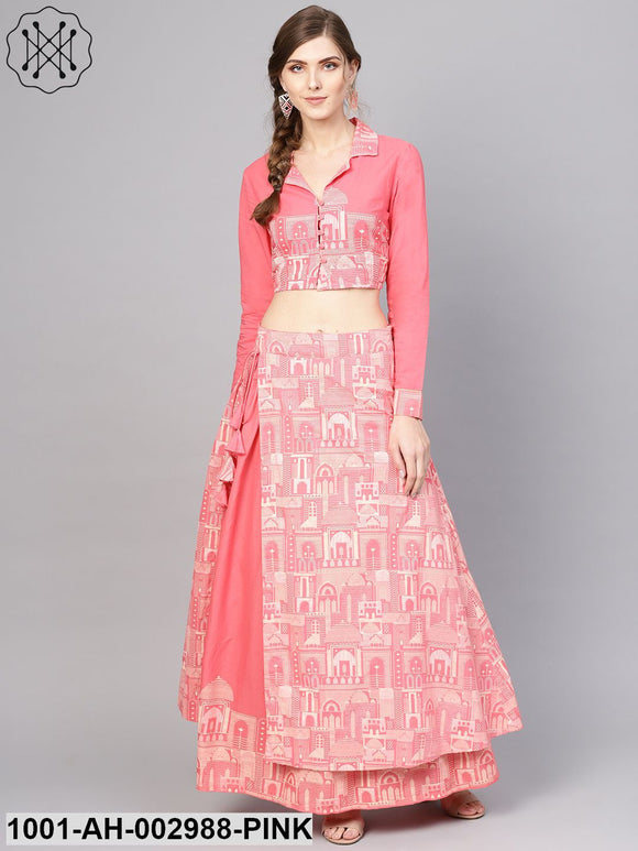 Pink Hawa Mahal Printed Lehenga With Blouse