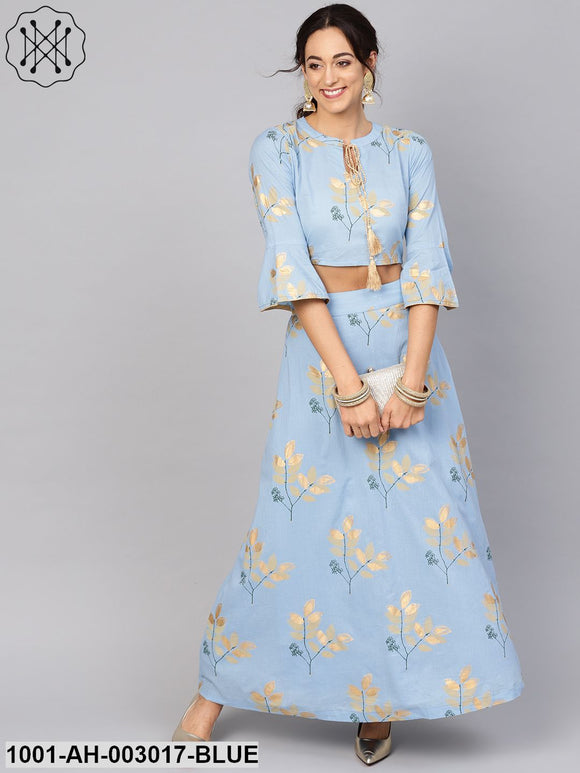 Blue Gold Print Lehenga With Top