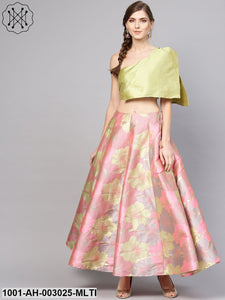 Pink Multi Colour Lehenga With One Shoulder Top