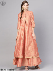Peach Lehenga With Top And Jacket