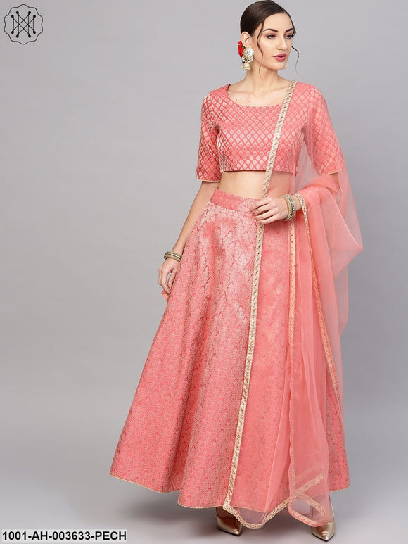 Peach Brocade Lehenga With Brocade Choli & Dupatta