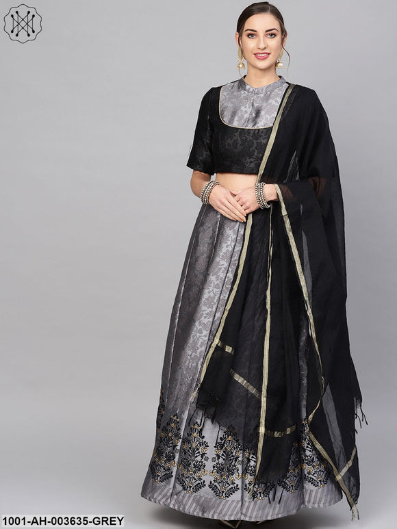 Grey Self Designed Lehenga Choli With Dupatta