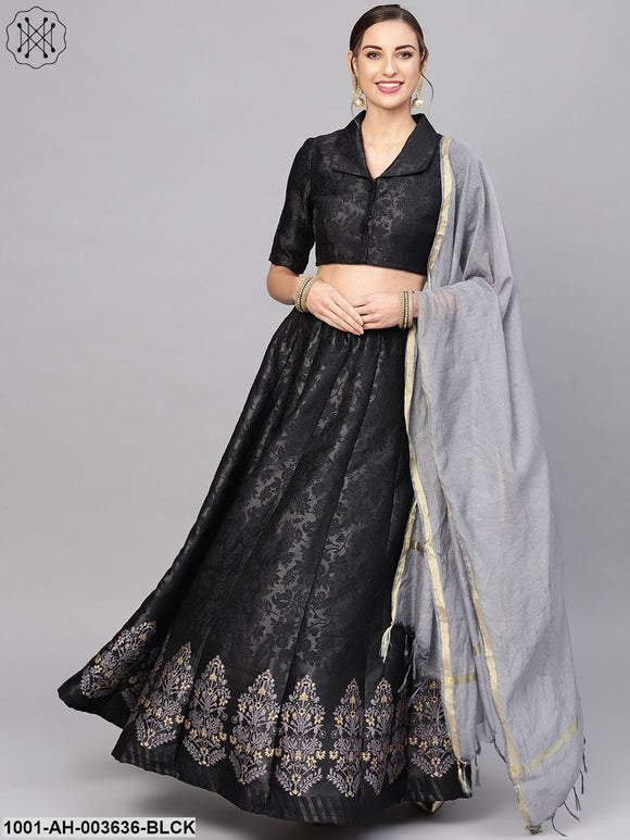 Black Self Designed Lehenga Choli With Dupatta