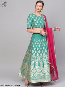 Green Self Designed Lehenga With Blouse & Dupatta