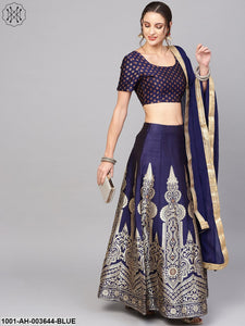 Blue Gold Self Designed Lehenga With Blouse