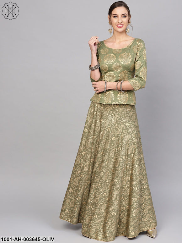 Olive Gold Printed Lehenga With Blouse