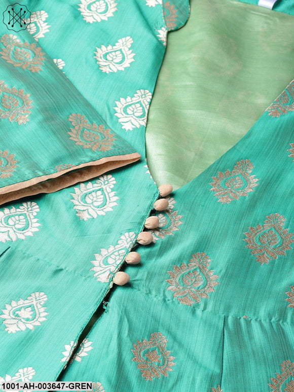 Green Gold Self Designed Panelled Jacket With Lehenga