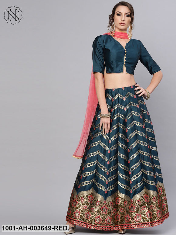 Teal Blue Self Designed Kali Lehenga With Blouse & Dupatta