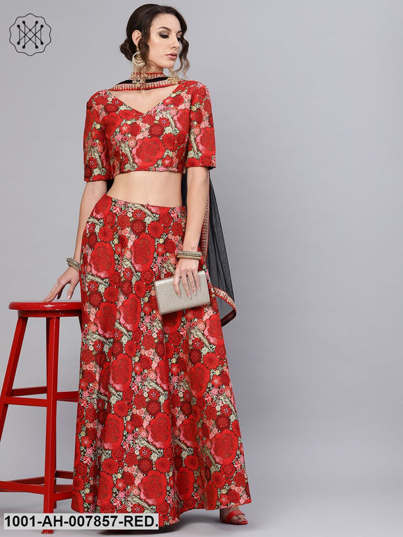 Red Self Designed Lehenga Choli With Dupatta