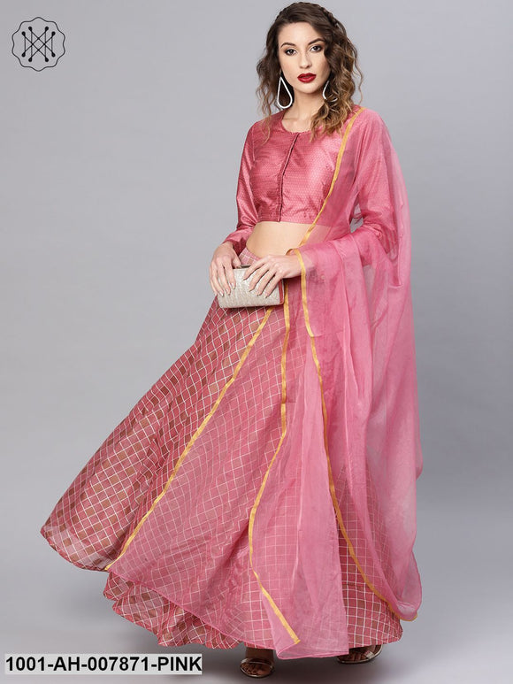 Pink Checked Lehenga With Choli & Dupatta