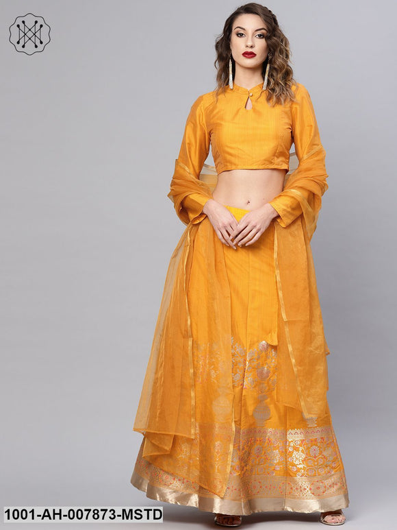 Mustard Self Designed Kali Lehenga With Choli & Dupatta