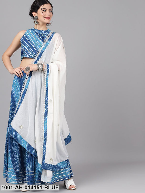 Blue & White Leheriya Lehenga Blouse With Dupatta
