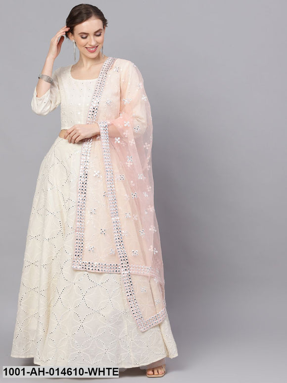 White Mirror Work Lehenga Choli With Net Dupatta