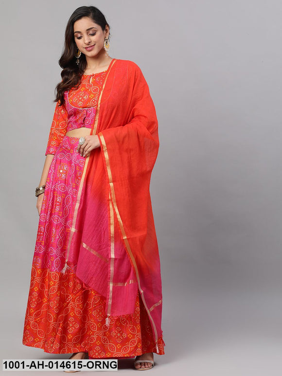 Orange & Pink Bandhani Printed Lehenga Choli & Solid Dupatta