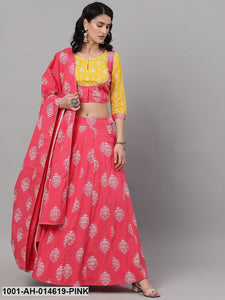 Pink & Yellow Khari Printed Lehenga Choli With Dupatta