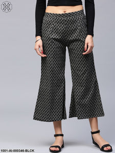 Black Printed Cropped Palazzo