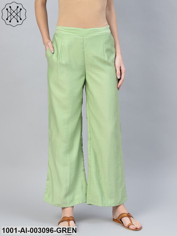 Green Solid Palazzo